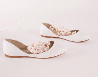 The Swan Bridal Ballet Flats in White | Wedding Shoes in White