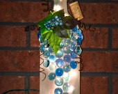 Reserved for Gina - Frosted Wine Bottle Light with Leaves, Berries and Blue Gems