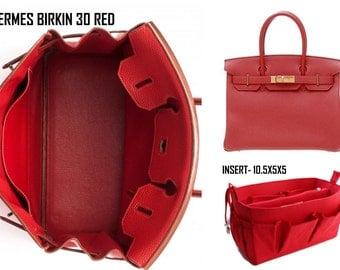 Purse organizer Fits Hermes Birkin 30cm- Bag organizer insert in Rich Red