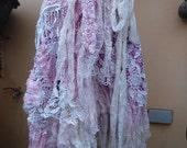 "20%OFF RESERVED wedding bohemian boho gypsy lagenlook OAK shabby wrap skirt...46"" across plus ties."