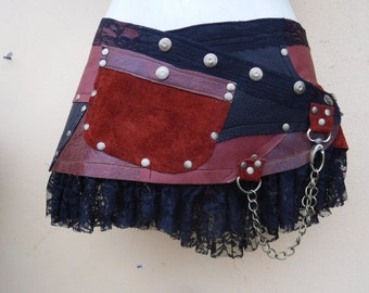 """20%OFF...BURNING Man festival , gypsy tribal boho  3 toned leather mini skirt/belt with ruffles and studs... 32'' to 40"""" hip or waist..."""
