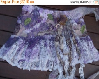 """20%OFF gothic bohemian gypsy lagenlook woodland shabby belt...36"""" across  plus long ties...large FREE SHIPPING"""