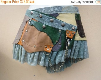 """20%OFF 20 Percent OFF...BURNING Man festival ,  patch work leather mini skirt/belt with ruffles and studs... 30'' to 38"""" hip or waist..."""