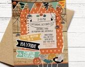 Halloween Invitation - Hanging Spiders - Hayride and Pumpkin Carving - PRINTABLE or Printed Invitations