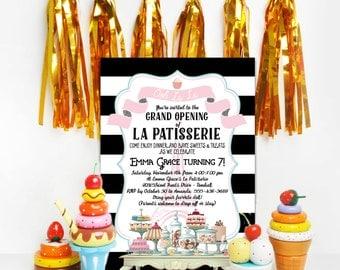 French Bakery Birthday Invitation - La Patisserie Baking Birthday Party - PRINTABLE or Printed Invitations