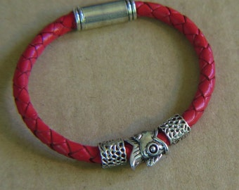 Leather Bracelet - Red Color Round Braided Leather - with Silvertone Metallic Clasp with SilverTone accent beads -