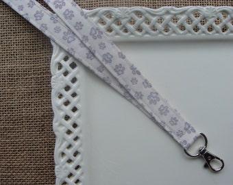 Fabric Lanyard ID -  Grey Paw Prints on Cream