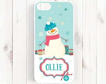 Christmas Snowman Personalized Monogram iPhone 6s 6 Plus iPhone 6 5s 5c 5 Case, Winter Holiday Samsung Galaxy S6 S5 S4, Note 3 4 5 Case Xm03