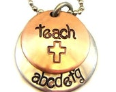 Hand Stamped Jewelry Hand Stamped Teachers Necklace - Mixed Metal Jewelry