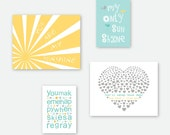 You Are My Sunshine Print set, Nursery Decor for kids, gray aqua and yellow Kids room decor 8x10 and 5x7 in