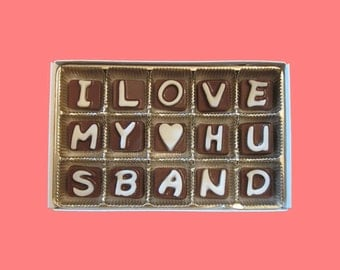 Anniversary Gift for Husband Gift Long Distance Relationship Army Hubby from Wife Birthday I Love My Husband Cubic Milk Chocolate Letters