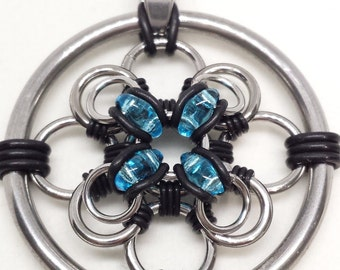 Chainmaille and Czech Glass Bead Pendant