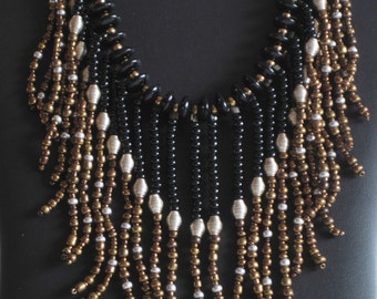 Native American  necklace  in bronze, silver and black