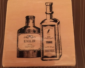 Wood mounted stamp Elixir Apothecary Bottles