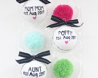 Set of 3 pregnancy announcement ornaments handpainted, pregnancy reveal ornament, reveal gift, baby announcement, new gradma, new grandpa