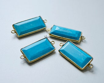 Turquoise Gold Bar Pendant, Gold Turquoise Connector, Turquoise Stone Bar, Gold Dipped