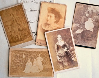 Lot of Five Cabinet Cards, Visiting Cards, Calling Cards, Old Sepia Photographs