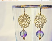 15 OFF. Provence flower earrings with Ametrine faceted drop