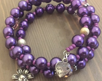 Purple Pearl Memory Wire Bracelet