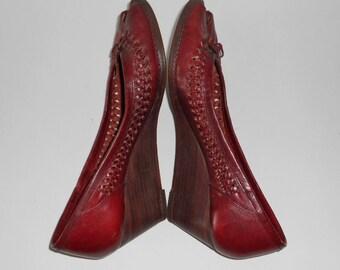 Burgundy Brown Leather Wedge Shoes, Size 6.5 Women, Slip-On Open Toe Pumps, Heels, Vintage