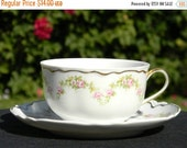 Small Teacup and Saucer - Tea Cup Made in Czechoslovakia - Dainty Pink Roses  1373