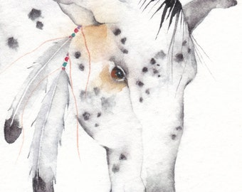 SPIRIT PONY Aceo watercolor PRINT - Native American - Free Shipping