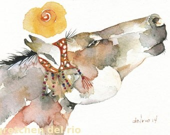 HORSE greeting card watercolor spirit TOTEM 'Tinker Mare'' animal Native American