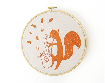 Orange home decor, Kids room decor, Wall decor, Print Orange Squirrel framed in embroidery hoop, Housewarming gift, Screenprinted by Olula