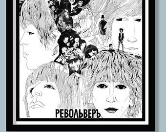 Beatles Poster. Beatles Revolver Russian poster. Square print . Classic album art. 60s Beatles . Vintage rock print .Album cover art.
