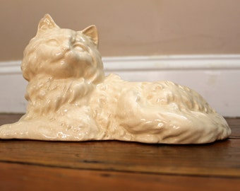 Meow... Vintage White Cat Planter, Plants, White Cat