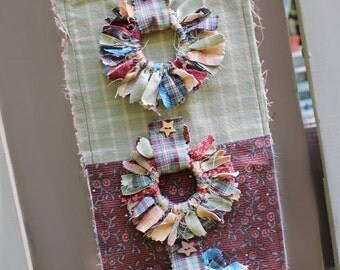 Rustic Hanging, Fabric Hanging,  Shabby Chic Style, Rustic Home Decor, Autumn Decor, Vintage Fall Fabric, Gift for Her, Housewarming Gift
