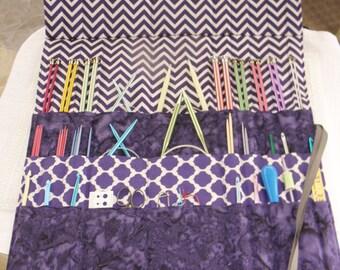 Knitting Needle Organizer, 30 Pockets, Knitting Needle Case, Knit/Crochet Needle Storage, Ready to Ship