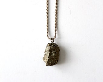 vintage stone pendant on Italian chain, pyrite necklace