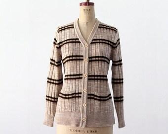 SALE vintage 70s striped cardigan sweater