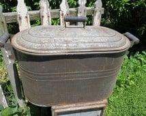 Vintage Galvanized And Copper Boiler.