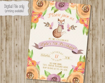 Fox Birthday Invitation, Woodland Birthday Invitation, Girl Fox Birthday Invitation, Girl Birthday Invitation, Fox Birthday, Little Fox