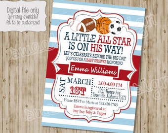 Baby Shower Invitation , All Star Baby Shower Invitation, Sports Baby  Shower Invitation, Sports