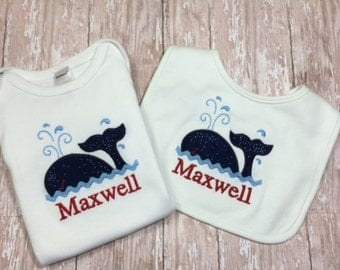 Personalized Bib & Onesie with Nautical Whale Applique and Monogram-Custom Monogram for Boy or Girl - Shower Gift Set