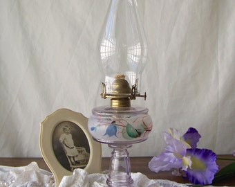 Antique Oil Lamp Purple Glass Table Lamp Hand Painted Frosted Effect Pat Applied 1876 Evans Sell & Co