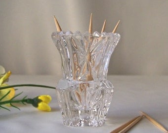 Vintage Toothpick Holder Leaded Crystal Glass Toothpick Holder Sawtooth Edge Dining Table Entertaining Hor dourves Dining Vintage 1960s