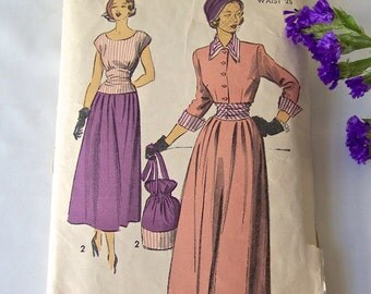 Vintage Woman's Skirt And Jacket Pattern 1950s Three Quarter Sleeves Advance Pattern 5092 Sewing Pattern Size 12