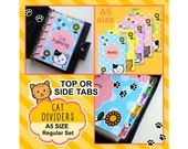 SIZE: A5 SIZE Kitty Dividers (Top or Side Tabs / Regular Set) Cute Kawaii Personalised Cat Filofax Organizer