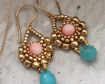 Coral, chalcedony, and 24 kt gold fill drop earrings