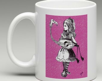Alice in Wonderland Coffee Mug - Alice's Flamingo, Tim Burton Inspired, proceeds to Alzheimer's Association