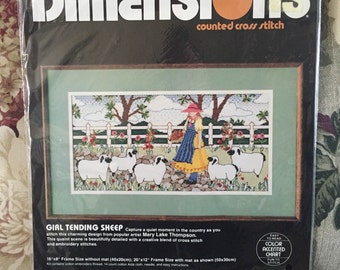 """Dimensions Vintage """"Girl Tending Sheep"""" counted cross stitch kit"""