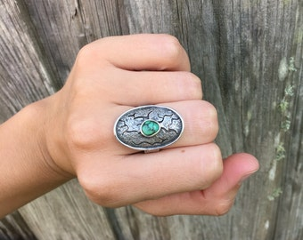 From the Earth shield statement ring, turquoise & sterling silver