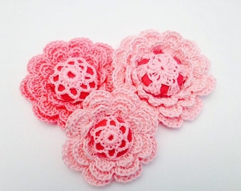 Pink Crochet Flowers - 3 Layered Flowers with Button Centers