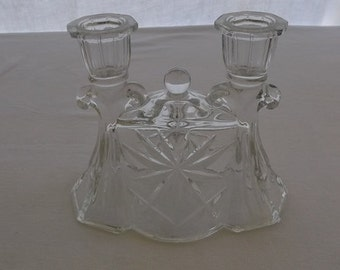 Vintage Candle Holder, Clear Pressed Glass, Double Candlestick Taper Holder