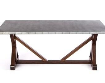 Zinc Table Zinc Dining Table  - French Trestle Black Walnut Base - Custom Sizes & Finishes Available