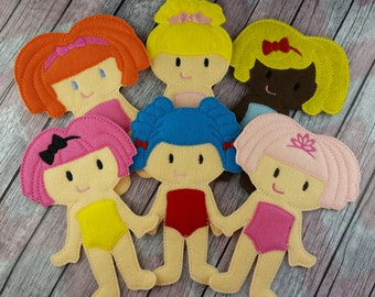 Rag doll Friends, Non Paper Doll, loopsy inspired, Bee, Cinder, Dot, Crumb, Marina, Jewels